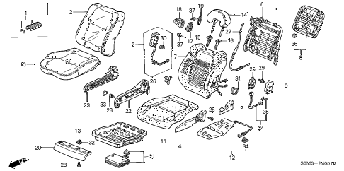2003 CL SPORT 2 DOOR 6MT FRONT SEAT (R.) diagram