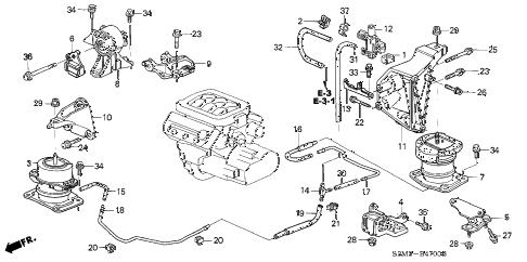 2001 CL PREM 2 DOOR 5AT ENGINE MOUNT diagram