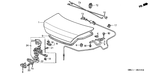 2001 CL PREM 2 DOOR 5AT TRUNK LID diagram