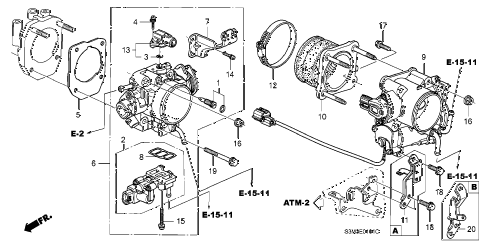 2003 CL SPORT 2 DOOR 5AT THROTTLE BODY (2) diagram