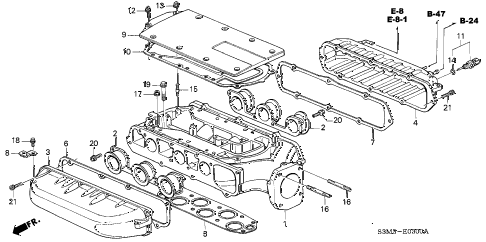 2001 CL PREM 2 DOOR 5AT INTAKE MANIFOLD (1) diagram