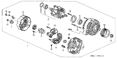 2001 CL SPORT 2 DOOR 5AT ALTERNATOR (DENSO) diagram