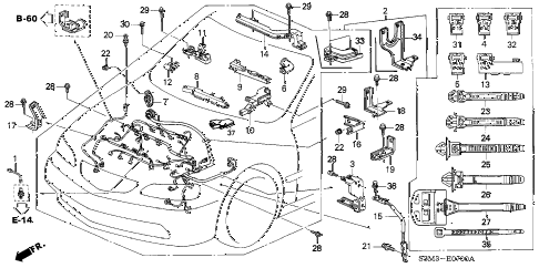 2001 CL PREM 2 DOOR 5AT ENGINE WIRE HARNESS diagram