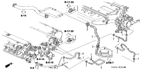2003 CL PREM 2 DOOR 5AT WATER HOSE (1) diagram