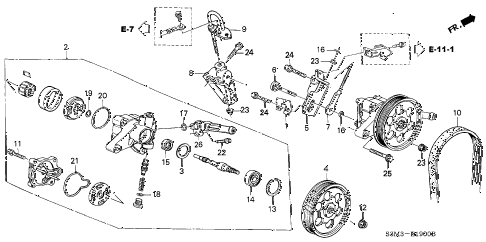 2003 CL SPORT 2 DOOR 6MT P.S. PUMP - BRACKET diagram