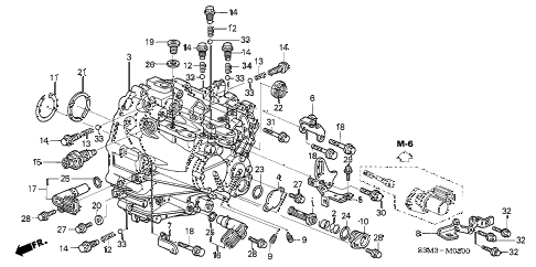 2003 CL SPORT 2 DOOR 6MT TRANSMISSION HOUSING diagram
