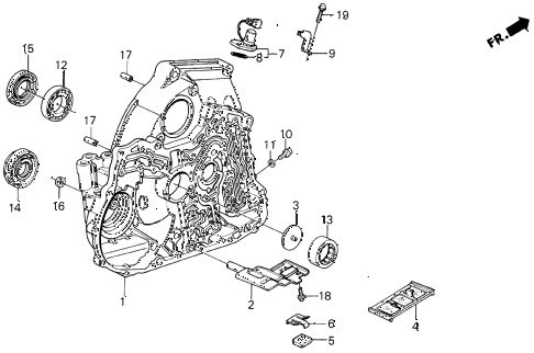 1987 INTEGRA LS 3 DOOR 4AT AT TORQUE CONVERTER HOUSING diagram