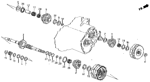 1989 INTEGRA LS 3 DOOR 4AT AT MAINSHAFT diagram
