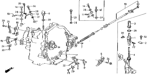 1988 INTEGRA RS 3 DOOR 4AT AT CONTROL LEVER - CONTROL WIRE diagram