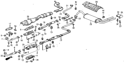 1989 INTEGRA RS 3 DOOR 4AT EXHAUST SYSTEM diagram