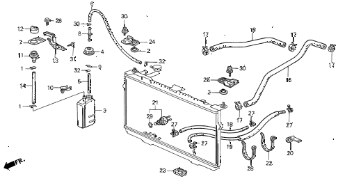 1987 INTEGRA LS 3 DOOR 5MT RADIATOR HOSE diagram