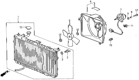 1987 INTEGRA LS 3 DOOR 5MT RADIATOR (DENSO) diagram
