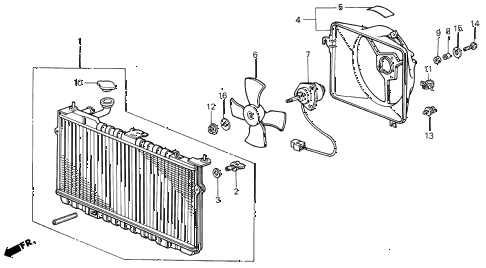 1986 INTEGRA LS 5 DOOR 5MT RADIATOR (TOYO) diagram