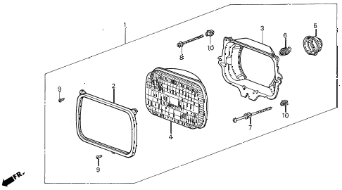 1988 INTEGRA LS 3 DOOR 4AT HEADLIGHT diagram