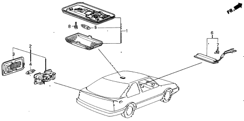 1989 INTEGRA RS 5 DOOR 4AT INTERIOR LIGHT diagram