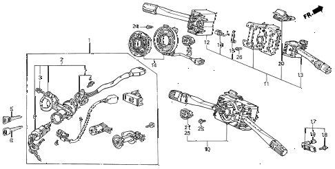 1989 INTEGRA LS 3 DOOR 5MT STEERING WHEEL SWITCH diagram