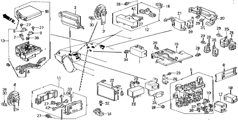 1988 INTEGRA LS 3 DOOR 4AT FUSE BOX - HORN diagram