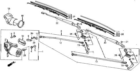 1987 INTEGRA LS 3 DOOR 5MT FRONT WINDSHIELD WIPER diagram