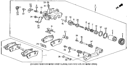 1989 INTEGRA LS 3 DOOR 5MT REAR BRAKE CALIPER diagram