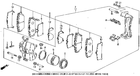 1988 INTEGRA RS 3 DOOR 5MT FRONT BRAKE CALIPER diagram