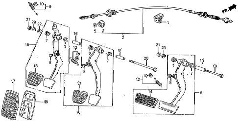 1987 INTEGRA RS 3 DOOR 5MT BRAKE PEDAL - CLUTCH PEDAL diagram