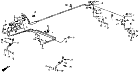 1989 INTEGRA RS 5 DOOR 4AT BRAKE LINES diagram