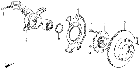 1988 INTEGRA LS 5 DOOR 5MT STEERING KNUCKLE - FRONT BRAKE DISK diagram