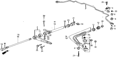 1988 INTEGRA LS 5 DOOR 4AT FRONT LOWER ARM diagram