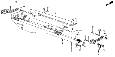 1986 INTEGRA LS 5 DOOR 5MT REAR LOWER ARM diagram