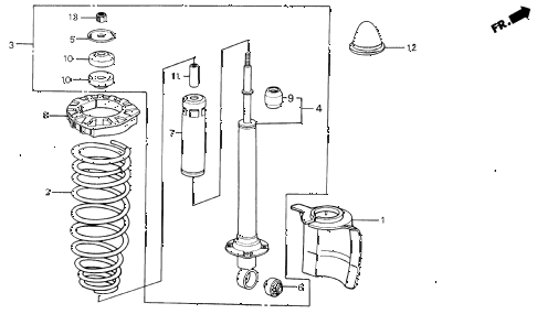 1989 INTEGRA LS 3 DOOR 5MT REAR SHOCK ABSORBER diagram