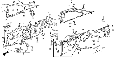 1989 INTEGRA LS 3 DOOR 4AT SIDE LINING 3DR diagram