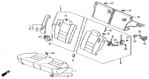 1986 INTEGRA RS 3 DOOR 5MT REAR SEAT diagram
