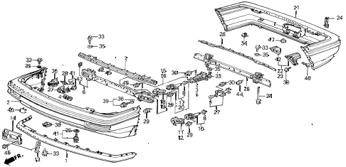 1989 INTEGRA LS 5 DOOR 4AT BUMPER diagram