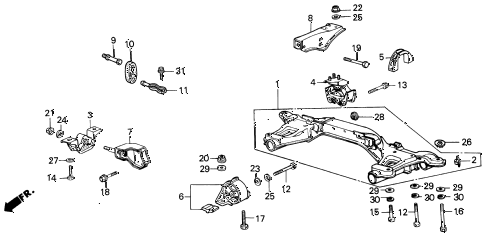 1987 INTEGRA RS 3 DOOR 4AT ENGINE MOUNT diagram