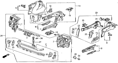 1988 INTEGRA LS 3 DOOR 5MT FRONT BULKHEAD diagram