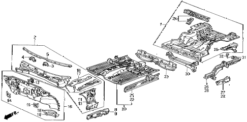 1989 INTEGRA RS 3 DOOR 4AT DASHBOARD - FLOOR diagram
