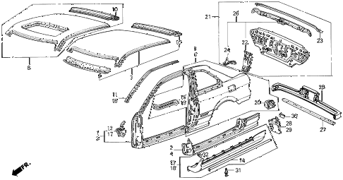1988 INTEGRA RS 3 DOOR 5MT OUTER PANEL 3DR diagram
