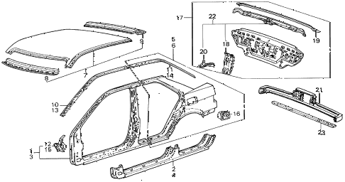 1988 INTEGRA RS 5 DOOR 5MT OUTER PANEL 5DR diagram