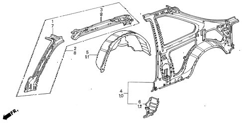 1987 INTEGRA RS 3 DOOR 4AT INNER PANEL 3DR diagram