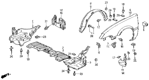 1987 INTEGRA RS 3 DOOR 4AT FRONT FENDER diagram