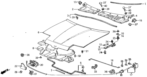 1989 INTEGRA RS 3 DOOR 5MT HOOD diagram