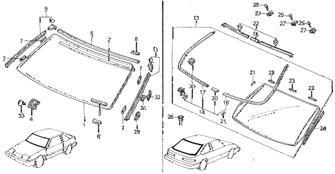 1989 INTEGRA LS 5 DOOR 5MT WINDSHIELD - REAR WINDOW diagram