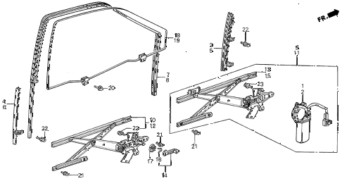 1989 INTEGRA RS 5 DOOR 5MT FRONT DOOR WINDOW 5DR diagram