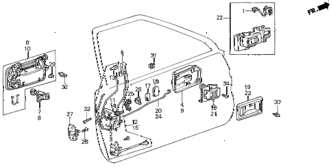 1989 INTEGRA LS 5 DOOR 5MT FRONT DOOR LOCKS 5DR diagram