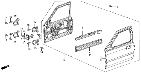 1988 INTEGRA LS 5 DOOR 5MT FRONT DOOR PANELS 5DR diagram