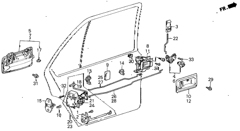 1988 INTEGRA RS 5 DOOR 5MT REAR DOOR LOCKS 5DR diagram