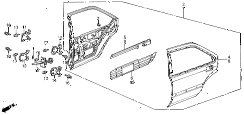 1989 INTEGRA RS 5 DOOR 5MT REAR DOOR PANELS 5DR diagram