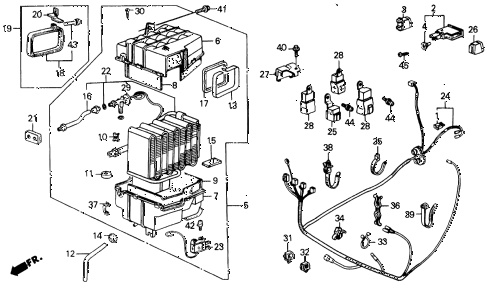 1989 INTEGRA RS 3 DOOR 5MT A/C UNIT diagram