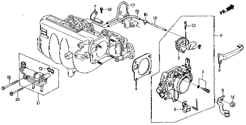1989 INTEGRA LS 3 DOOR 4AT THROTTLE BODY (2) diagram