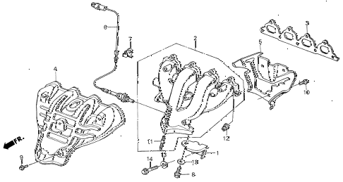 1989 INTEGRA RS 5 DOOR 4AT EXHAUST MANIFOLD diagram